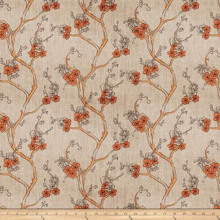 Fabricut  Embroidered Linen Nikara Floral Terra Cotta