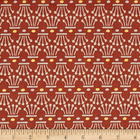 Facets Crowns Metallic Rust Fabric By The Yard