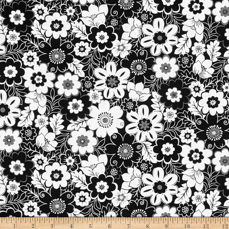 Fade to Black Big Flowers Black Fabric By The Yard