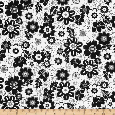 Fade to Black Big Flowers White Fabric By The Yard