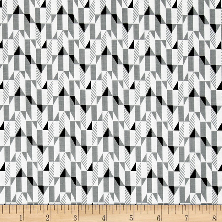 Fade to Black Blocks White Fabric By The Yard