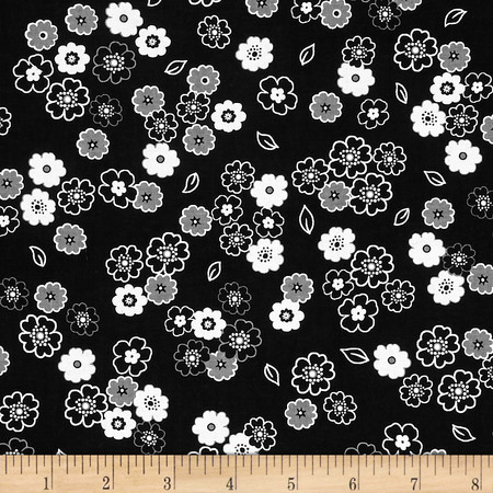 Fade to Black Small Flowers Black Fabric By The Yard
