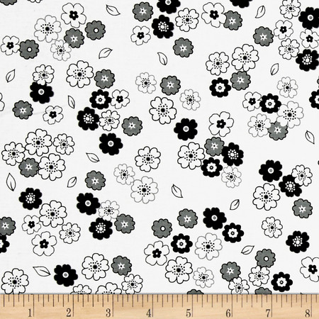 Fade to Black Small Flowers White Fabric By The Yard
