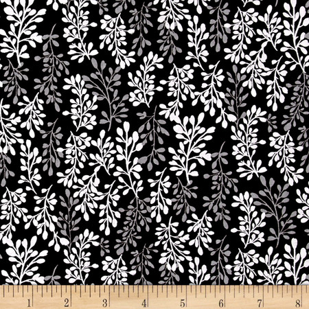 Fade to Black Sprigs Black Fabric By The Yard