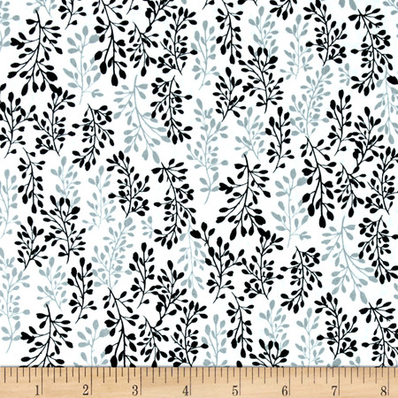 Fade to Black Sprigs White Fabric By The Yard