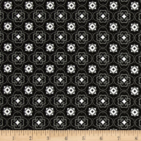Fade to Black Squares and Stars Black Fabric By The Yard
