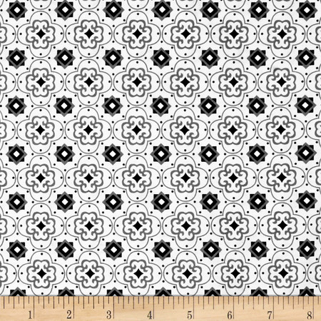 Fade to Black Squares and Stars White Fabric By The Yard
