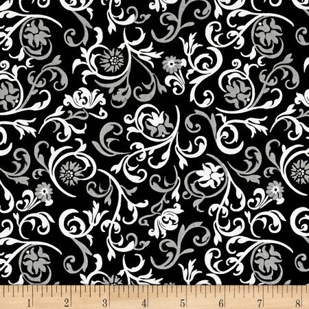 Fade to Black Vinery Black Fabric By The Yard