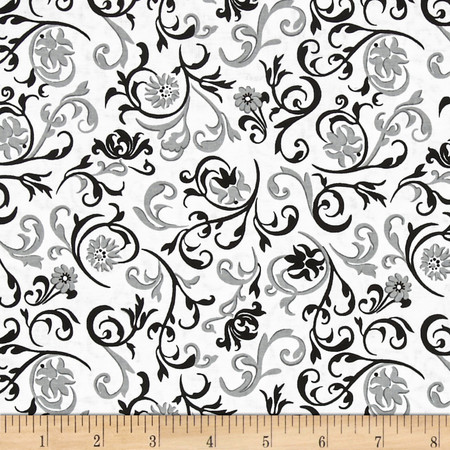 Fade to Black Vinery White Fabric By The Yard