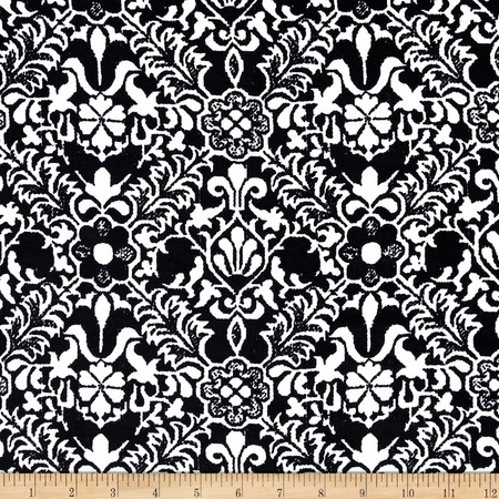 Faille Damask Print Shirting Black/White Fabric By The Yard