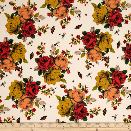 Faille Floral Cream/Red/Olive Fabric