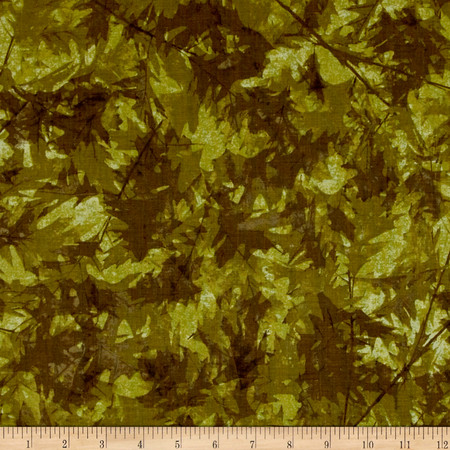 Fall Feast Leaves Dark Olive Fabric By The Yard