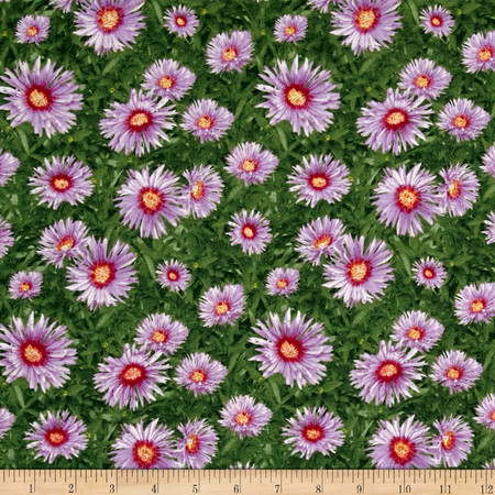 Fall Glory Floral Green Purple Fabric By The Yard