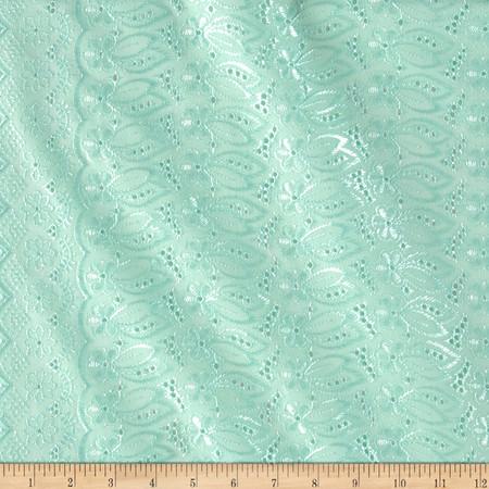 Fancy Eyelet Mint Fabric