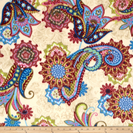 Fancy Paisley Printed Fleece Fabric