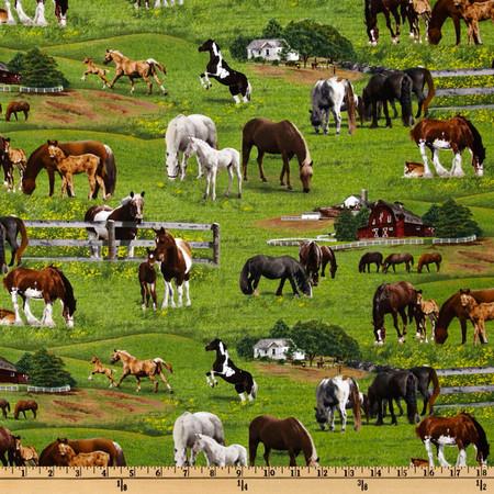 Farm Animals 2011 Horses Green Fabric