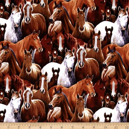 Farm Life Packed Horses Black Fabric