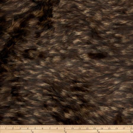 Faux Fur Mountain Fox Fur Taupe/Black Fabric