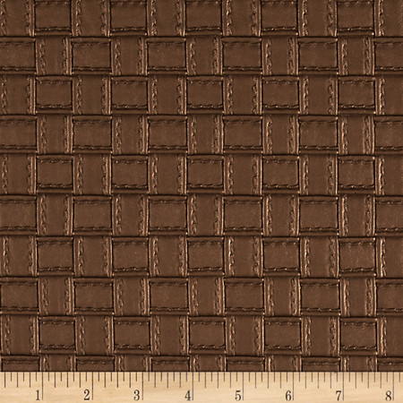 Faux Leather Basketweave Copper Fabric By The Yard