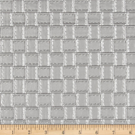 Faux Leather Basketweave Silver Fabric By The Yard