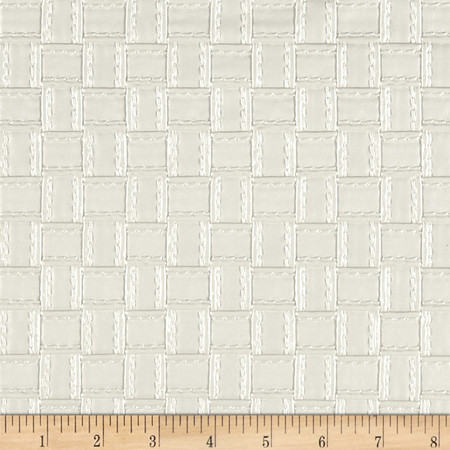Faux Leather Basketweave White Fabric By The Yard