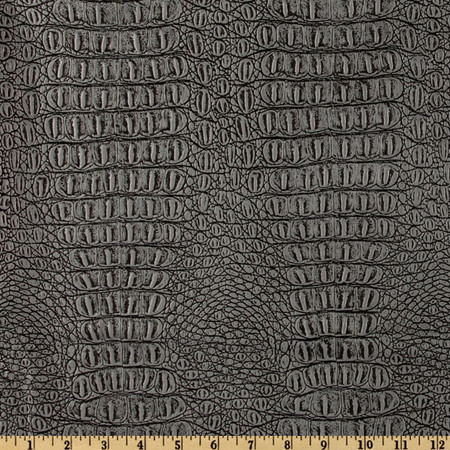 Faux Leather Gator Metallic Pewter Fabric By The Yard
