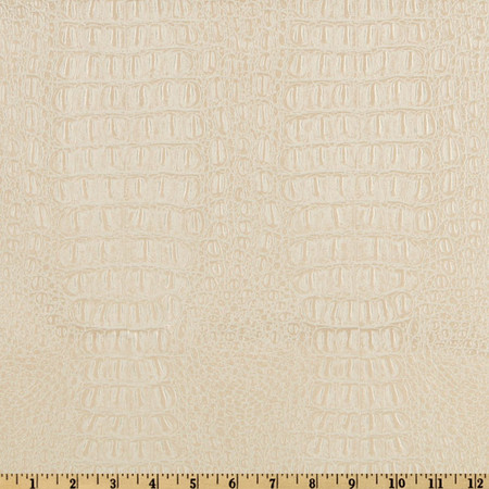 Faux Leather Gator Pearl White Fabric By The Yard