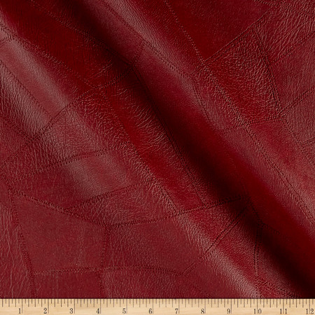 Faux Leather Patchwork Burgundy Fabric By The Yard