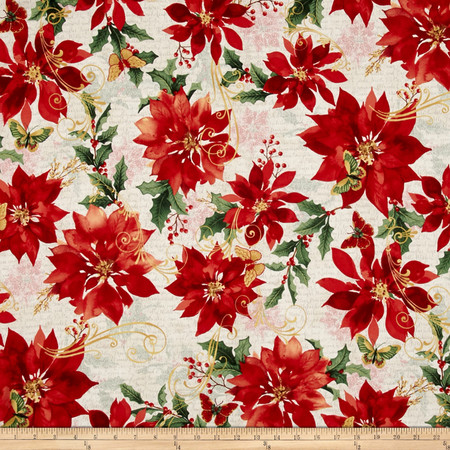 Festive Flora Metallic Poinsettias Script Pearl/Gold Fabric By The Yard