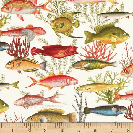 Fish Allover Sand Fabric