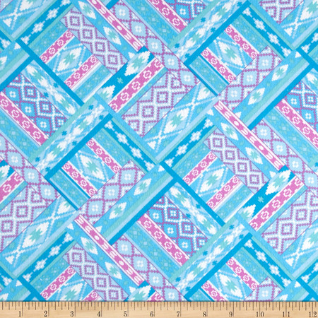 Flannel Aztec Blue Multi Fabric By The Yard