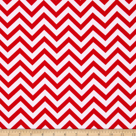 Flannel Chevron Red/White Fabric By The Yard