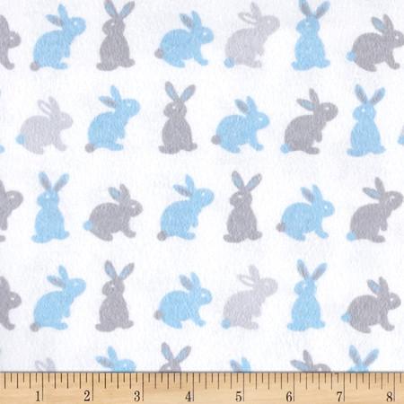 Flannel Cute Bunny Blue/Grey Fabric By The Yard
