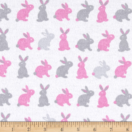 Flannel Cute Bunny Pink/Grey Fabric By The Yard
