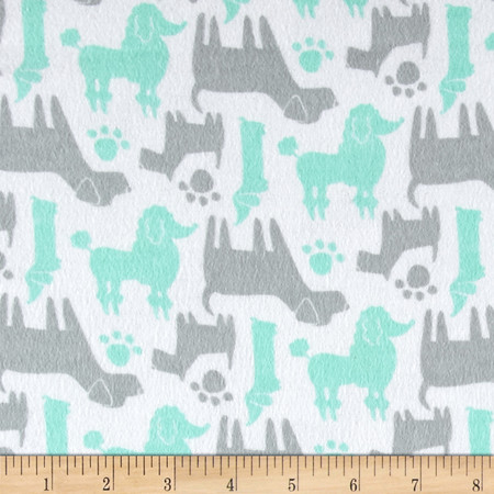 Flannel Dog Silhouettes Aqua Fabric By The Yard
