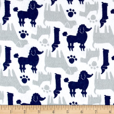 Flannel Dog Silhouettes Navy Fabric By The Yard