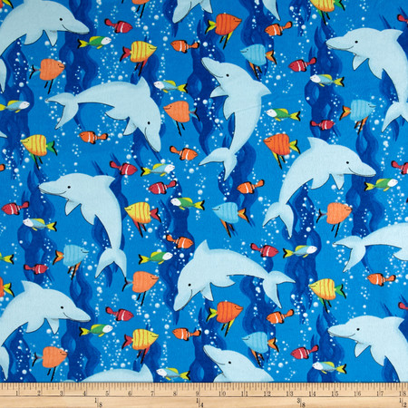 Flannel Dolphins Blue Fabric By The Yard