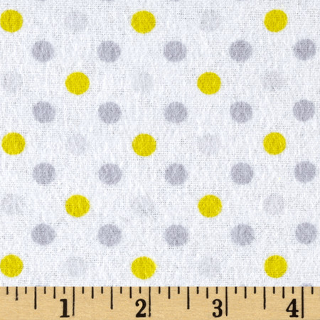 Flannel Dot Party Yellow/Grey Fabric By The Yard