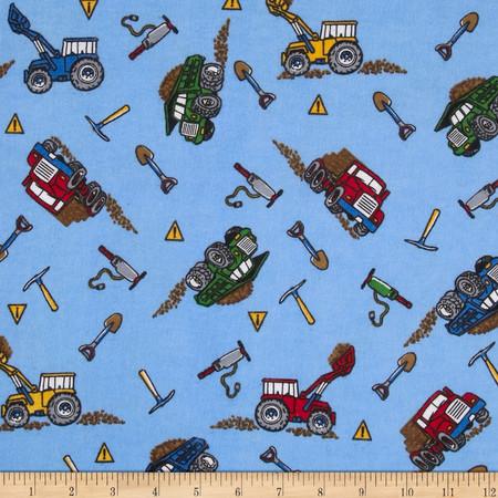 Flannel Dump Trucks Blue Fabric