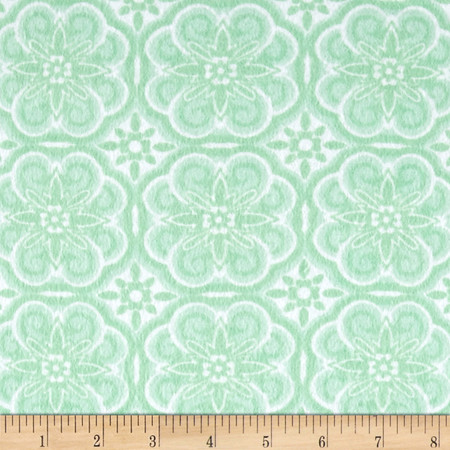 Flannel Floral Medallion Sage Fabric By The Yard