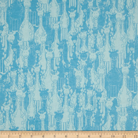 Flannel Giraffe Turquoise Fabric By The Yard