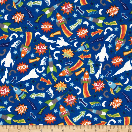 Flannel Glow in the Dark Space Ships Blue Fabric By The Yard