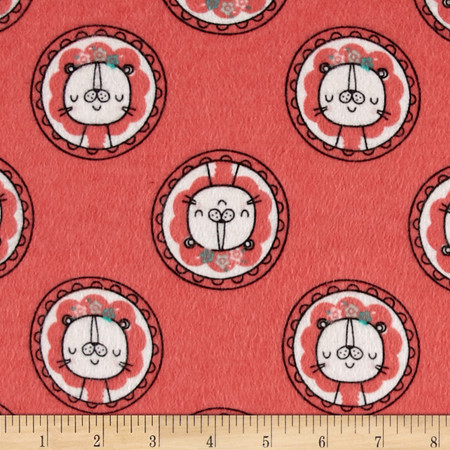 Flannel Lion Dot Grapefruit Fabric By The Yard