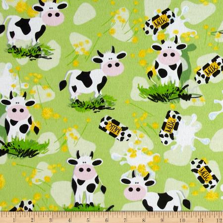 Flannel Milk Cows & Bottles Fabric