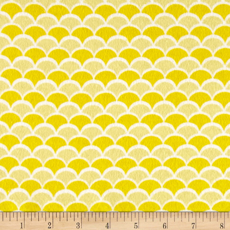 Flannel New Waves Yellow Fabric By The Yard