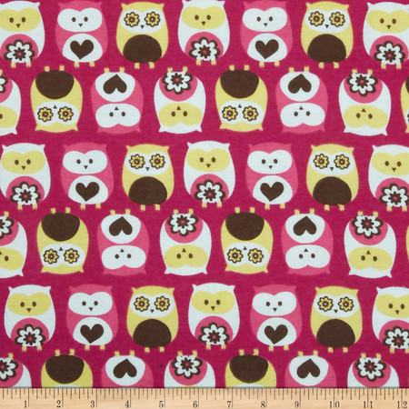 Flannel Owls Fuchsia Fabric
