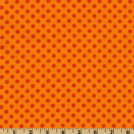 Flannel Polka Dots Orange Fabric By The Yard