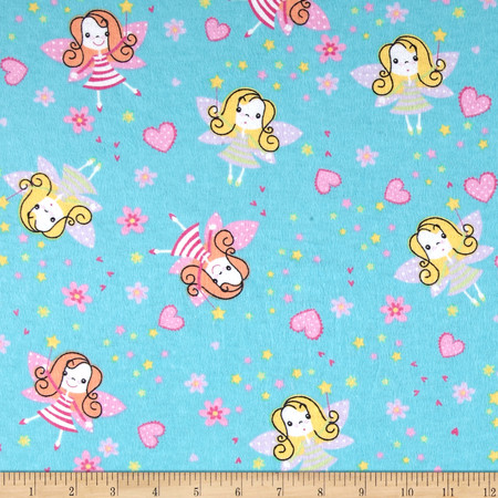 Flannel Prints Fairies Aqua Fabric