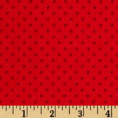 Flannel Small Dot on Red Tonal Fabric