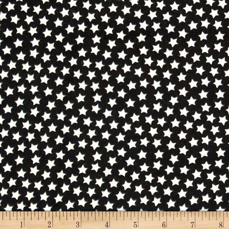 Flannel Stars Black/Glow in The Dark Stars Fabric By The Yard